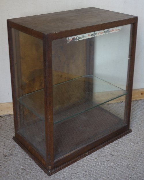 Small Oak Glass Shop Display Cabinet - Small Oak Glass Shop Display Cabinet - Antiques Atlas