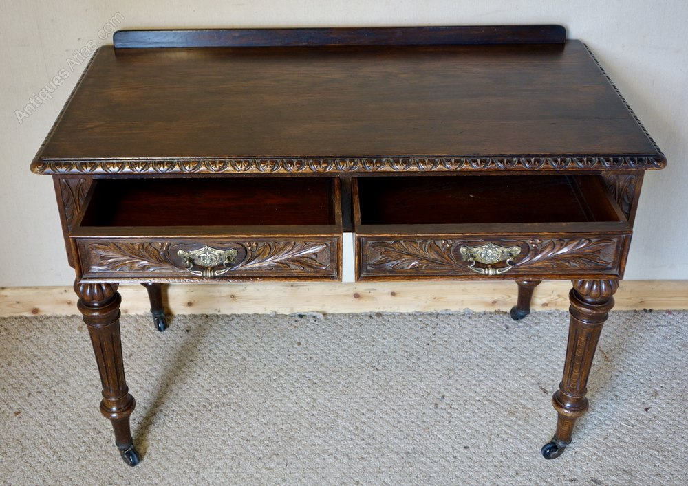 Victorian Carved Oak Two Drawer Writing Table Antiques Atlas