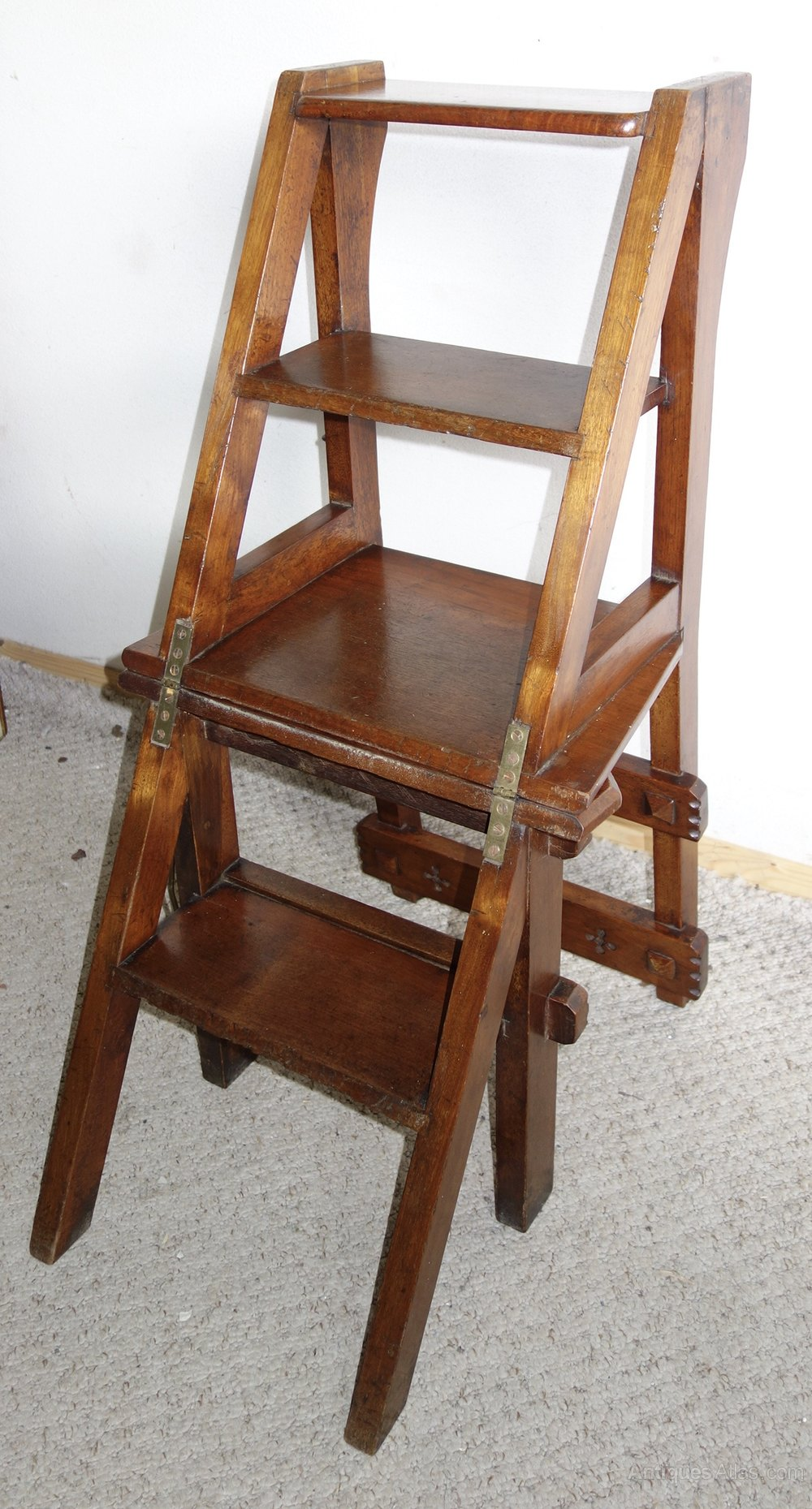Victorian Metamorphic Library Chair Steps Antique