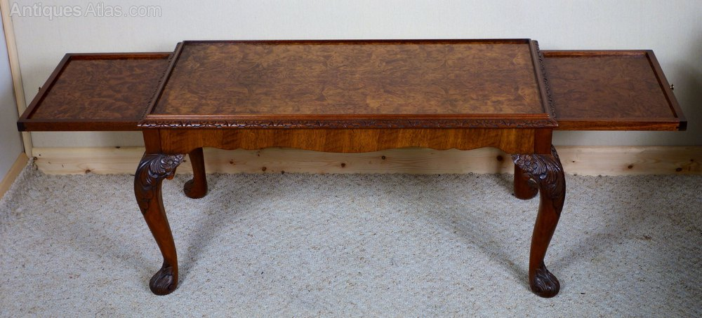Walnut Coffee Table With Pull Out Slides Antiques Atlas