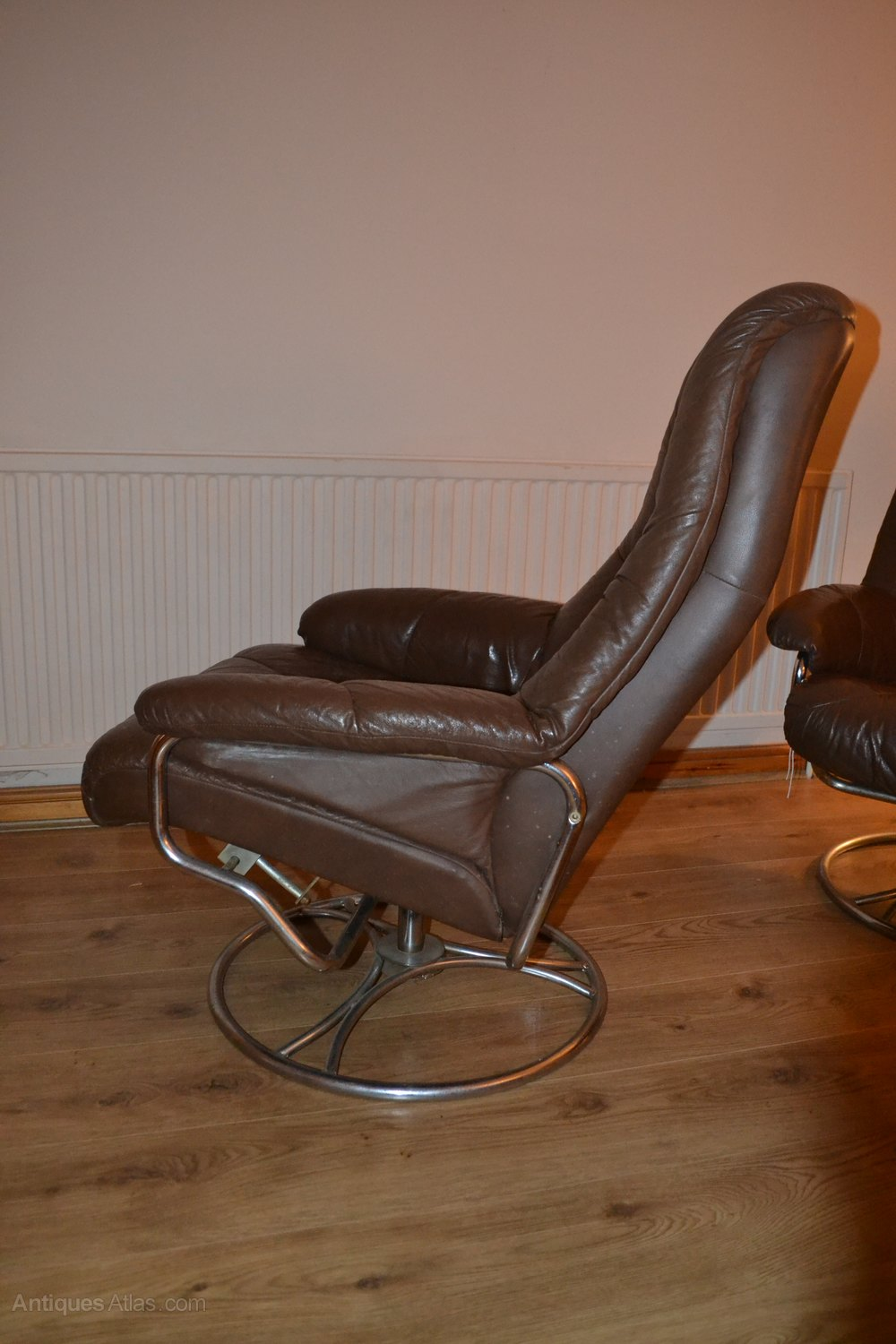 Antiques Atlas Retro Swedish Leather Swivel Chairs And