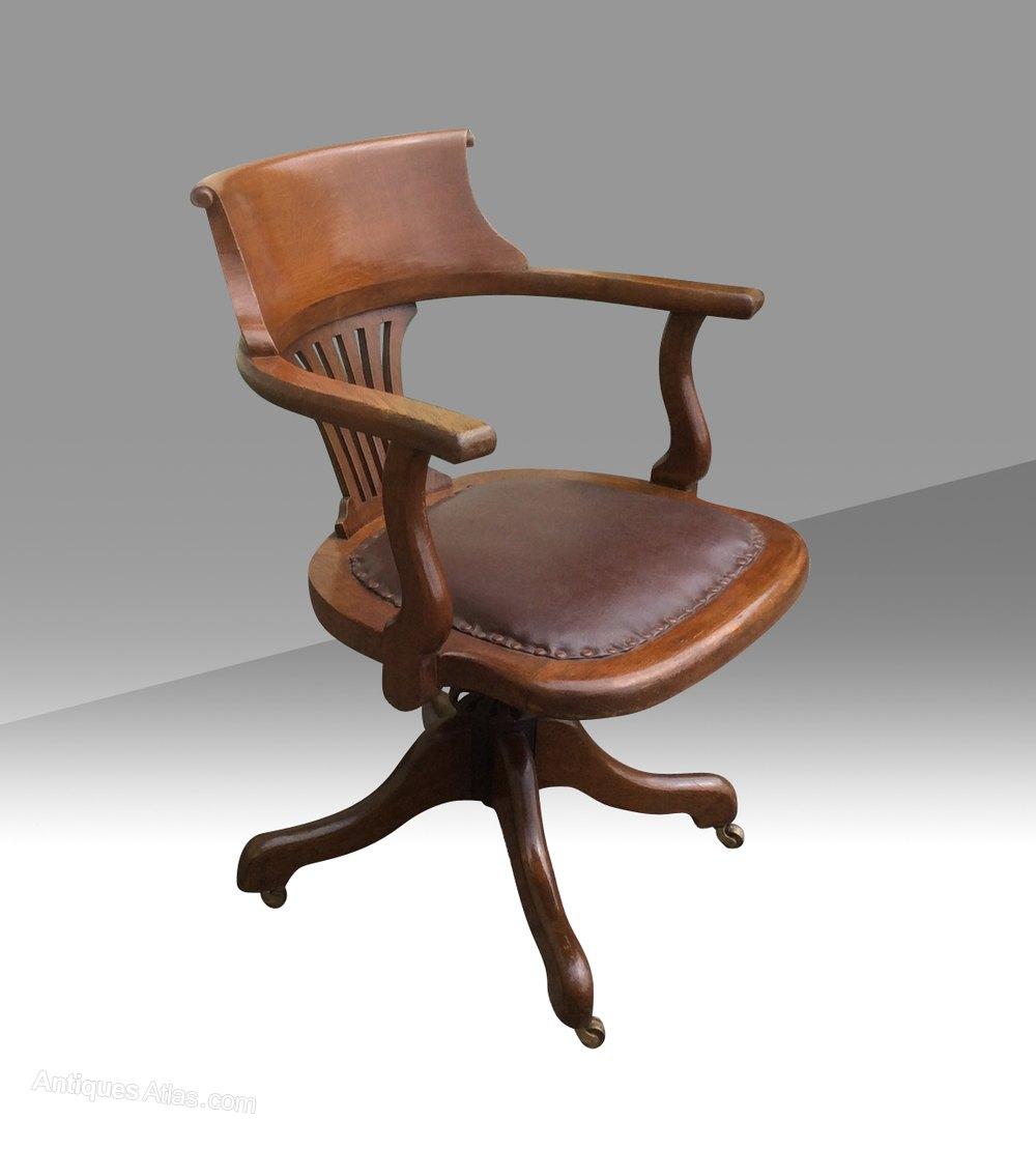 Beautiful Antique Swivel Captains Desk Chair Antique Captains Chairs