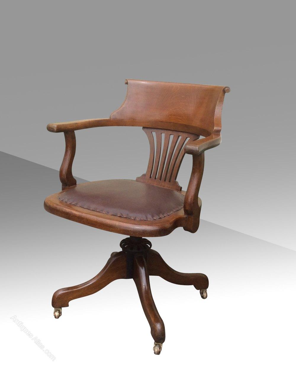 Antique Swivel Captains Desk Chair