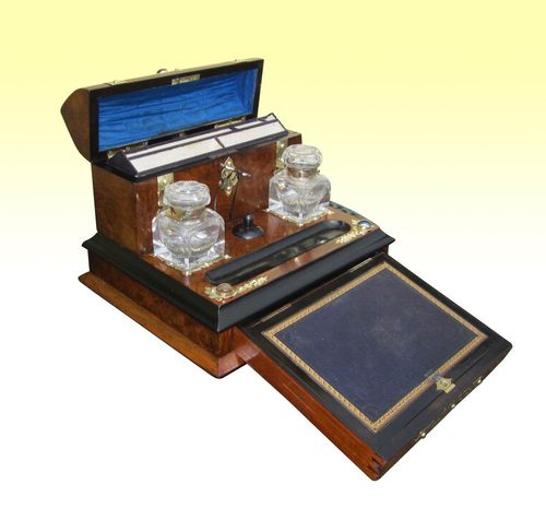 - Antiques Atlas - Brass Mounted Burr Walnut Antique Desk Set