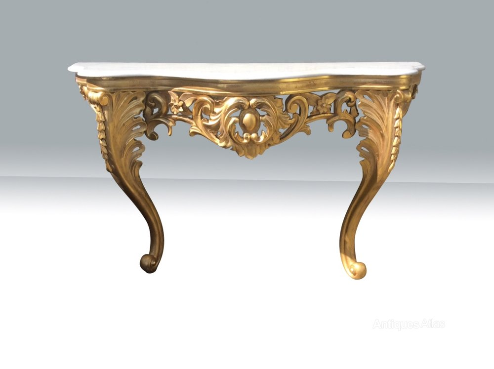 Fabulous antique gilt wood carved console table antiques