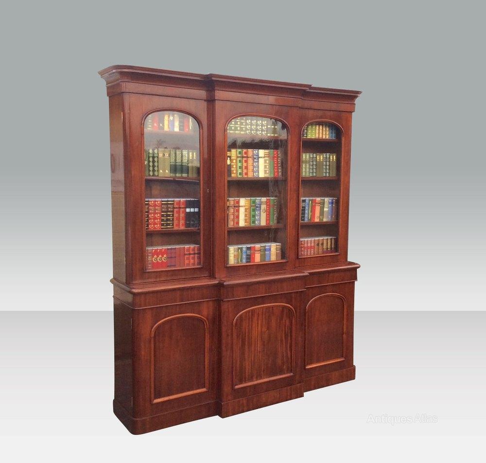 Antique Bookshelves: Fine Antique Mahogany Three Door Library Bookcase
