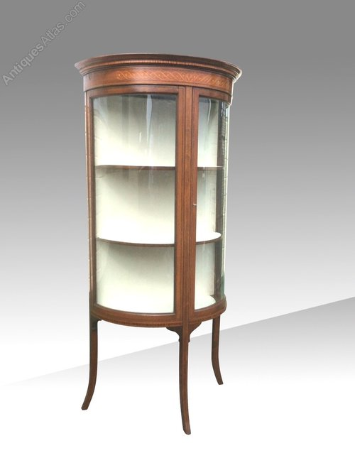 Quality Antique Bow Front Mahogany Display Cabinet ... - Quality Antique Bow Front Mahogany Display Cabinet - Antiques Atlas