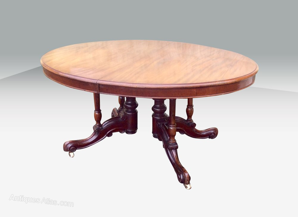 Rare Antique Mahogany Oval Extending Dining Table