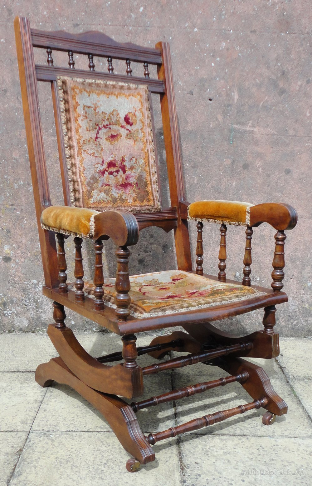 American Mahogany Spring Rocking Armchair Antiques Atlas