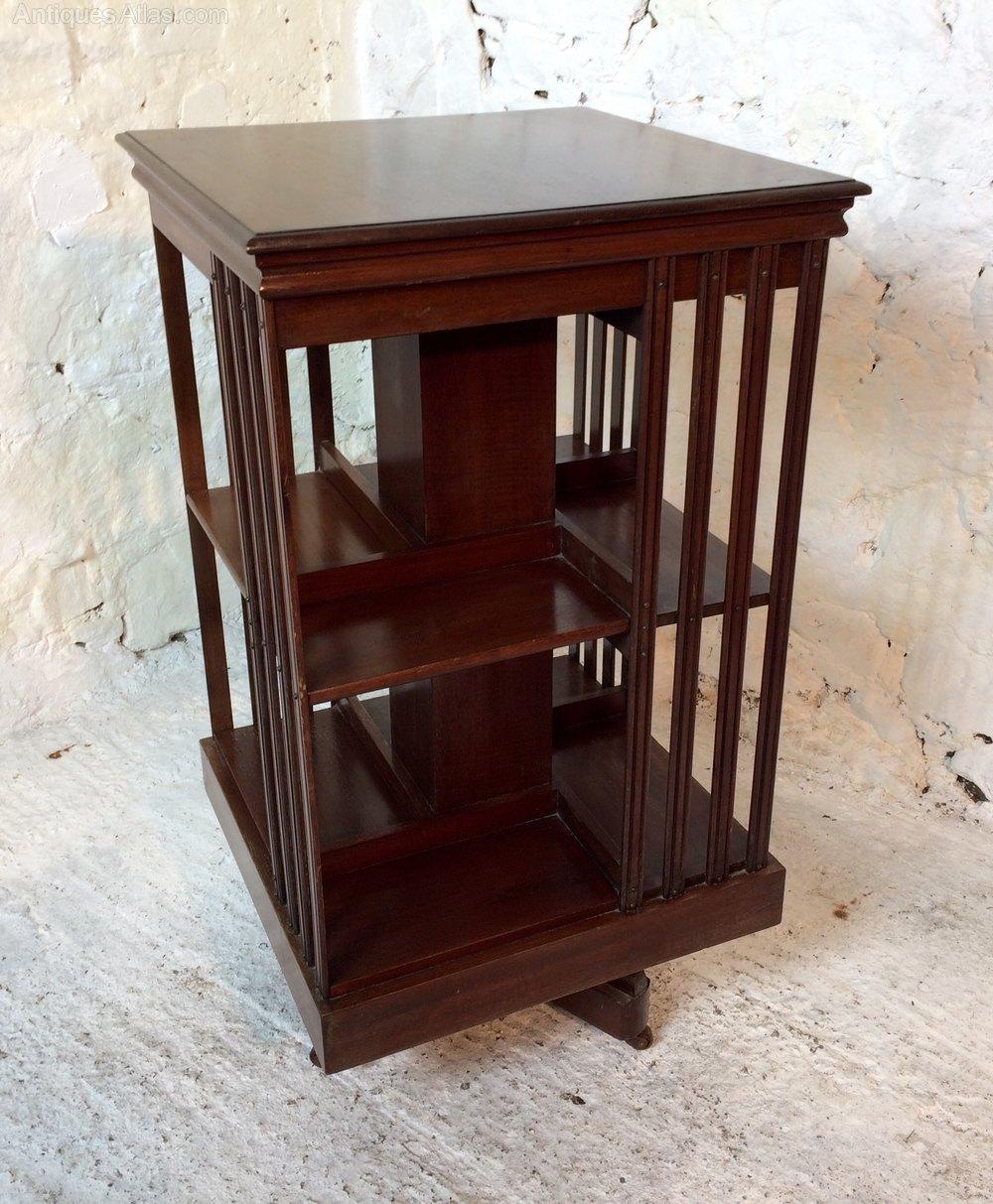 Rotating Bookshelves: Victorian Mahogany Revolving Bookcase