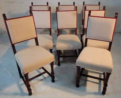Set of mahogany kings and queens dining chairs
