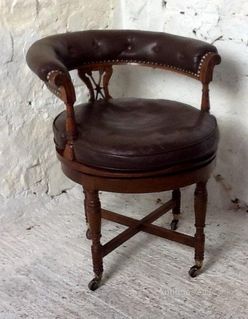 Victorian Oak Revolving Desk Chair