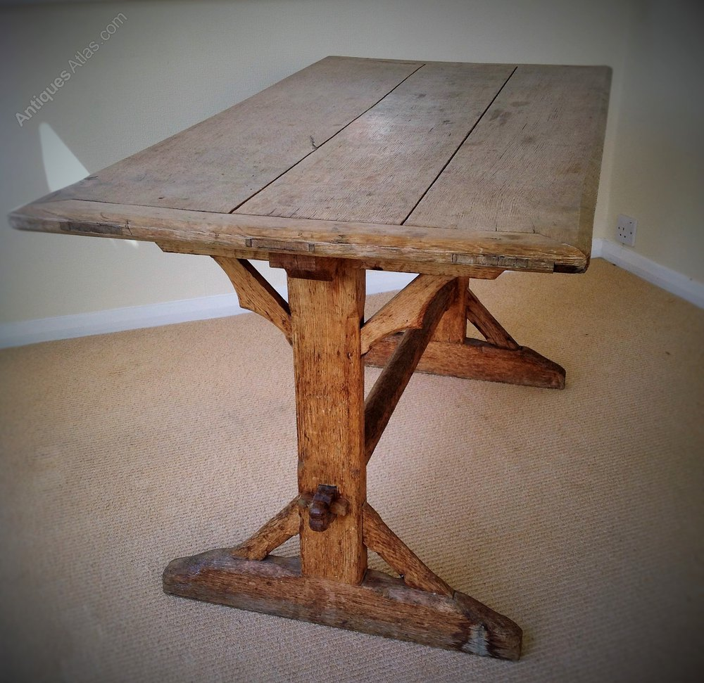 Gothic Style Trestle Table 19th C Antique ...