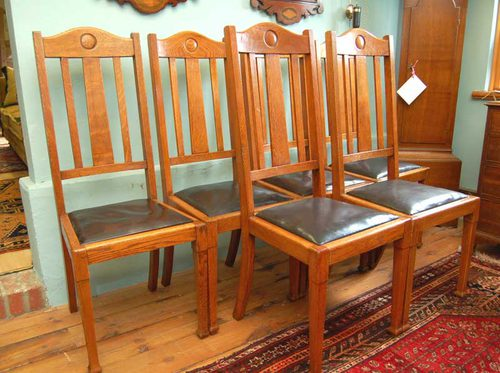 Set Of Six Arts Amp Crafts Golden Oak Dining Chairs