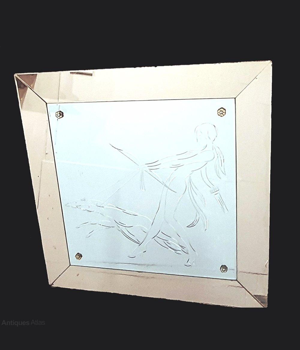Antiques Atlas Rare Art Deco Lady Borzoi Etched Mirror