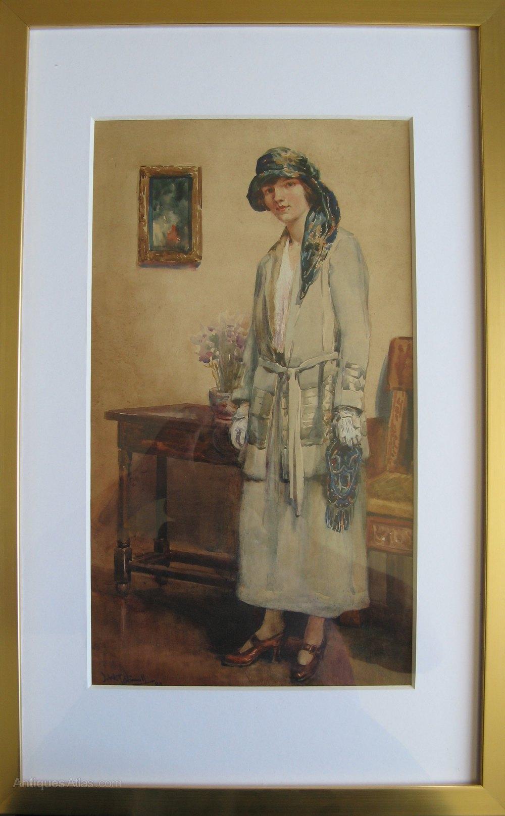 Antiques Atlas - Early Art Deco Watercolour JWT Vinall 1873-1953