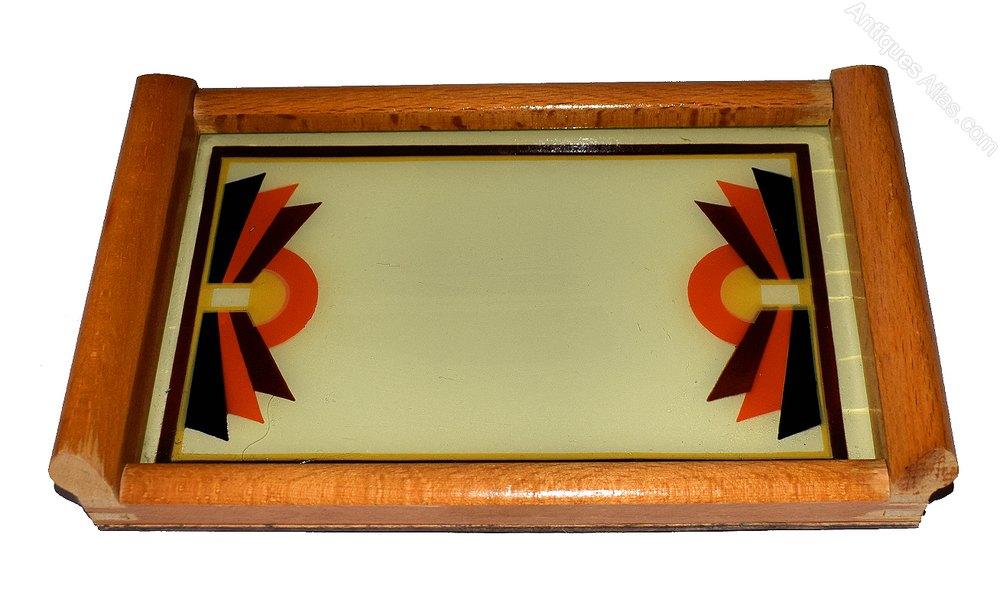1930 S Art Deco Geometric Reverse Painted Tray