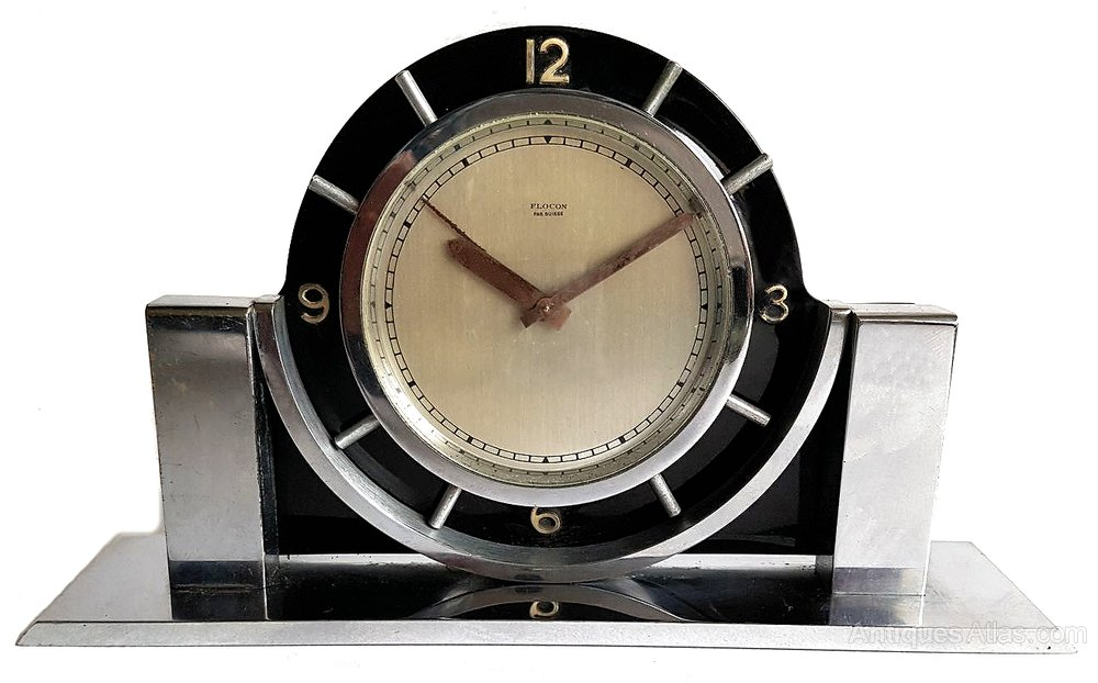 Antiques atlas art deco modernist imhof eight day alarm Art deco alarm clocks