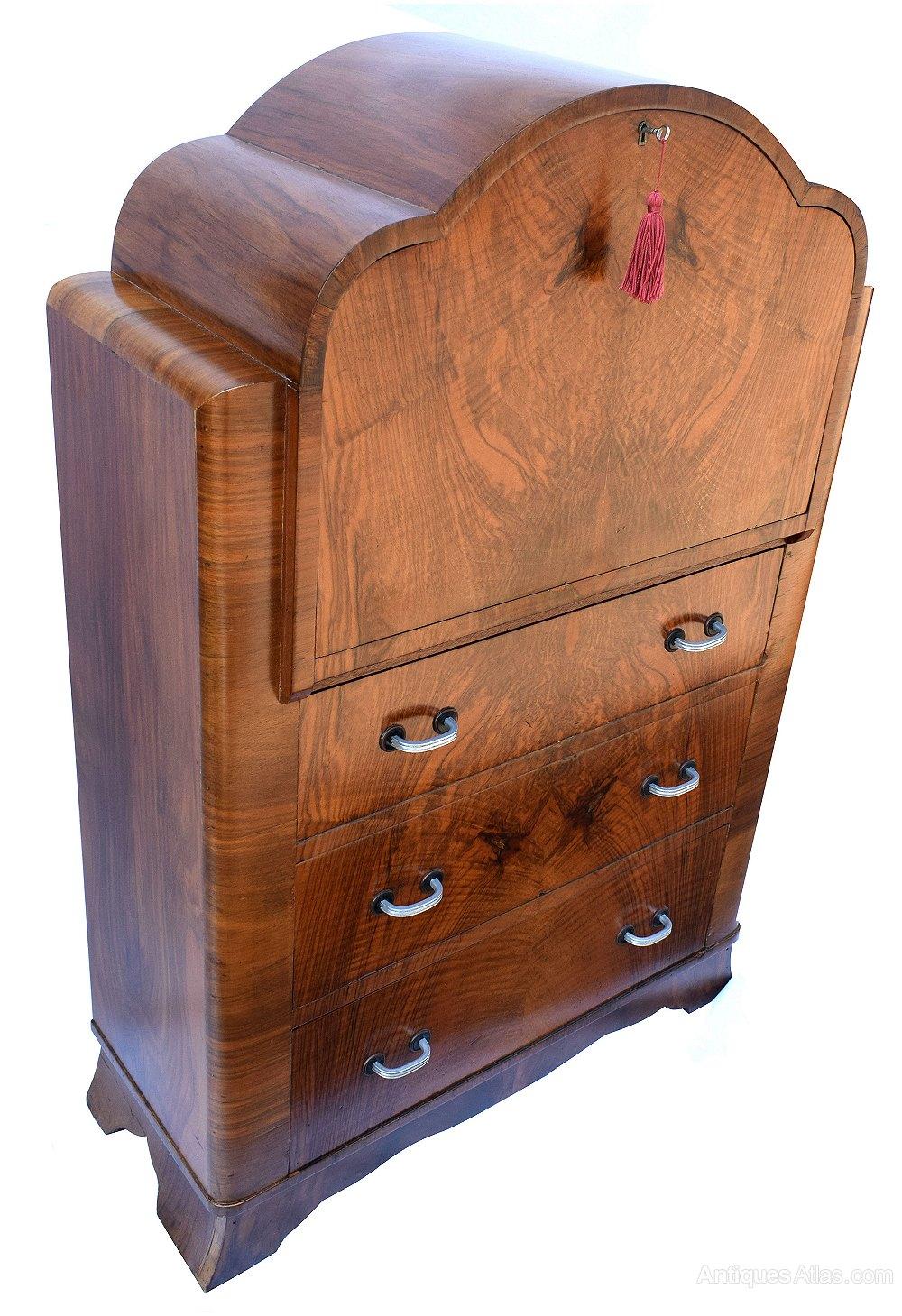 art deco burl walnut cloud bureau antiques atlas. Black Bedroom Furniture Sets. Home Design Ideas