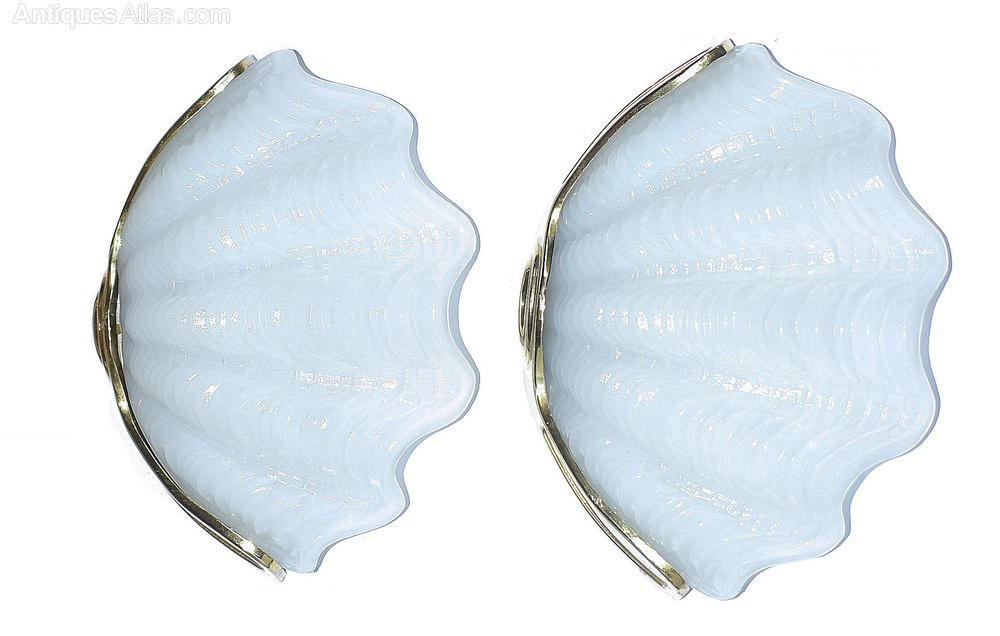 Vintage Shell Wall Lights : Antiques Atlas - Art Deco Shell Wall Light Sconces