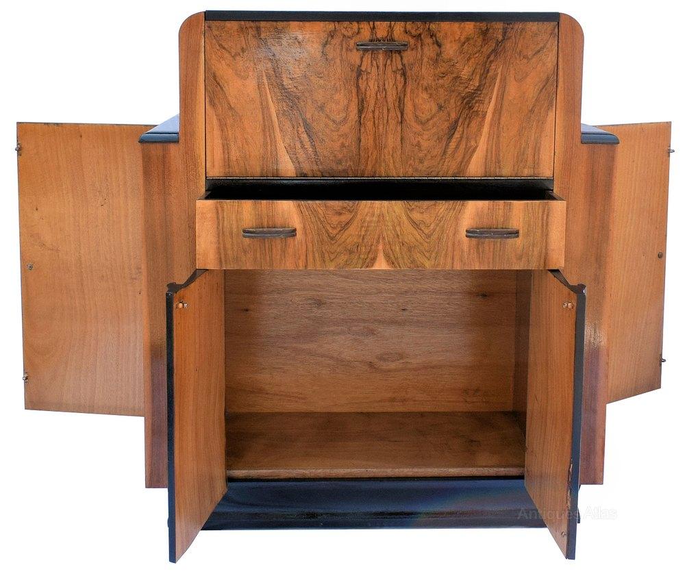 figured walnut 1930 39 s art deco bureau antiques atlas. Black Bedroom Furniture Sets. Home Design Ideas