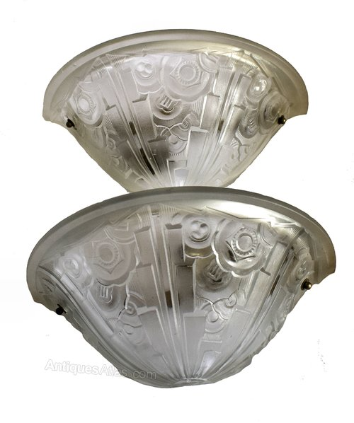 French Art Deco Glass Wall Light Sconces