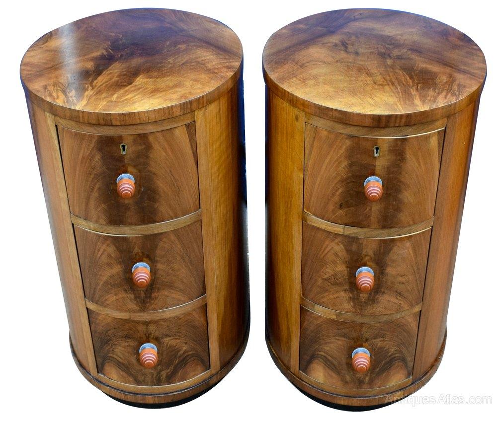 Deco De Table Bretonne pair of art deco oval shaped bedside cabinets - antiques atlas