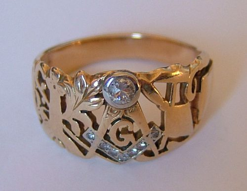 Antiques Atlas 14ct Gold Diamond Set Masonic Ring