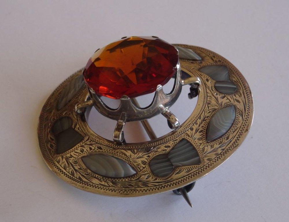 Vintage Watches For Sale >> Antiques Atlas - Antique Silver & Agate Scottish Plaid Brooch C1909