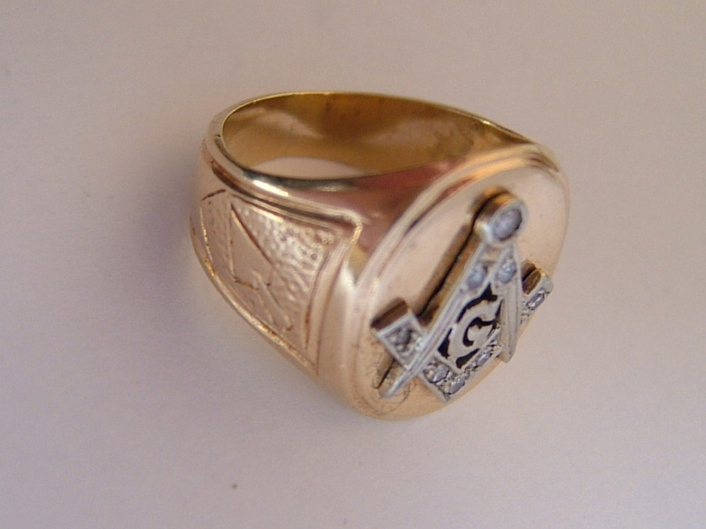 Antiques Atlas - Gold Diamond Set Masonic Ring