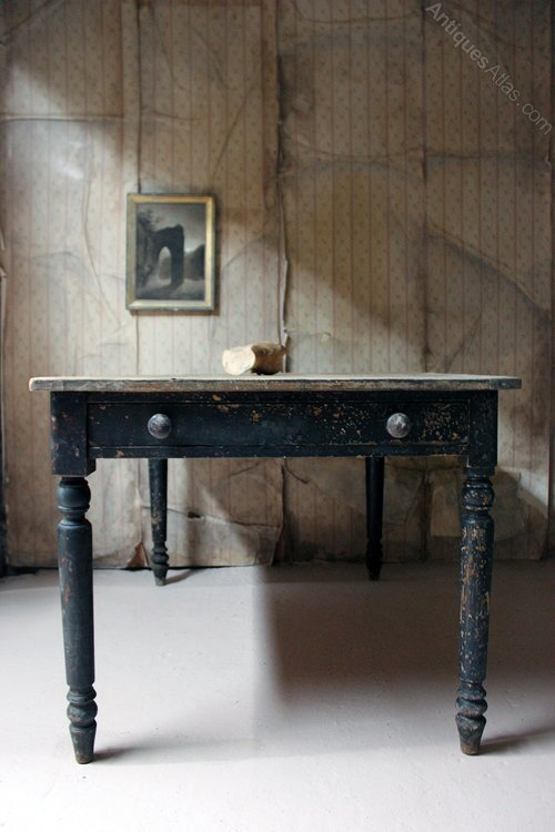 19thC Black Painted Pine Farmhouse Kitchen Table - Antiques ...