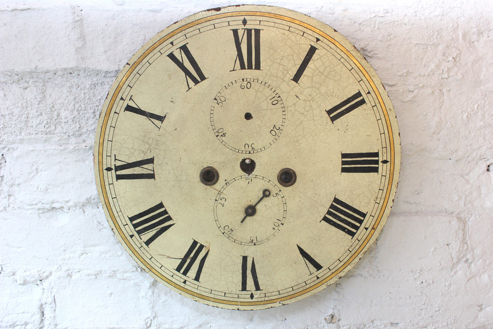 Attractive 19thc Painted Grandfather Clock Dial Antique Faces