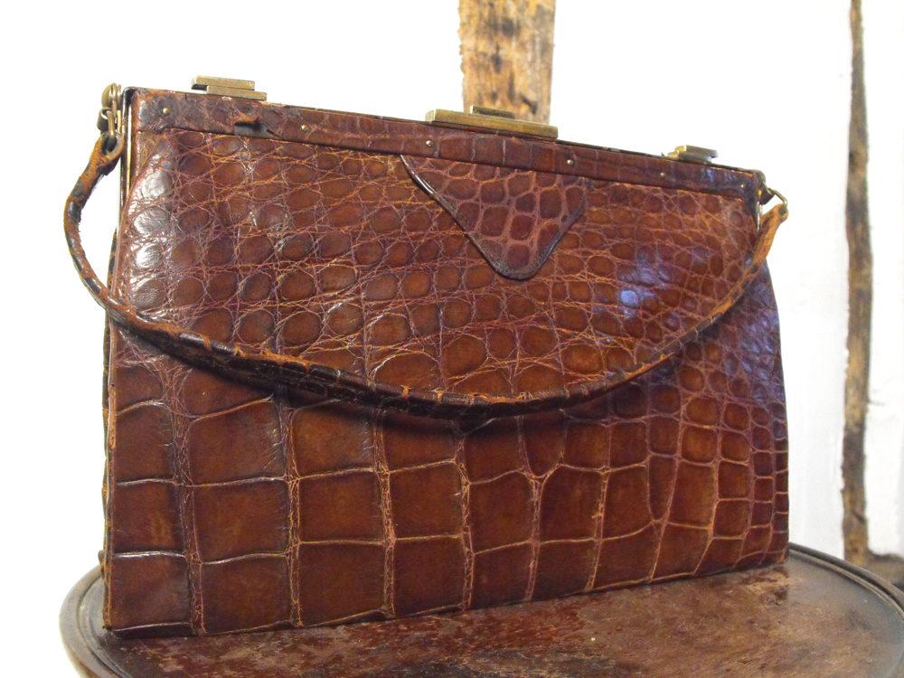 Antiques Atlas Edwardian Crocodile Skin Handbag