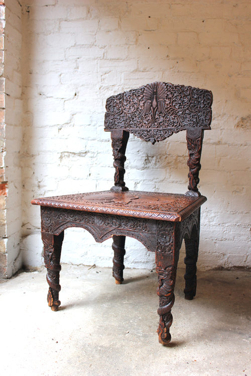 Fine 19thC Anglo Indian Carved Rosewood Side Chair Antique Side Chairs ...