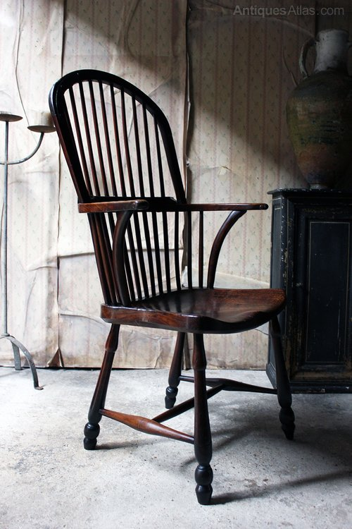 George III Hoop Back Walnut Windsor Armchair C1790