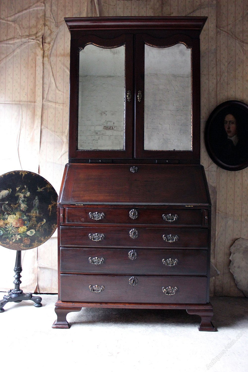 irish george ii mahogany bureau bookcase. Black Bedroom Furniture Sets. Home Design Ideas