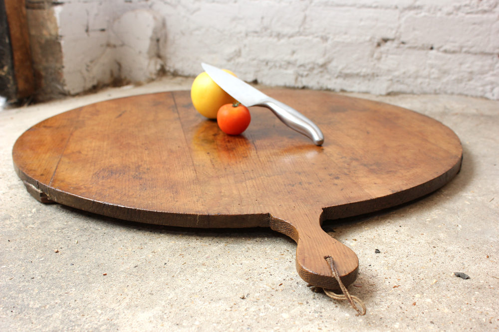 Large French Rustic Country Oak Cutting Board Antique Beautiful Round