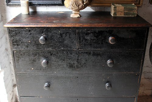 Large C.1850 Black Painted Pine Chest Of Drawers - Antiques ...
