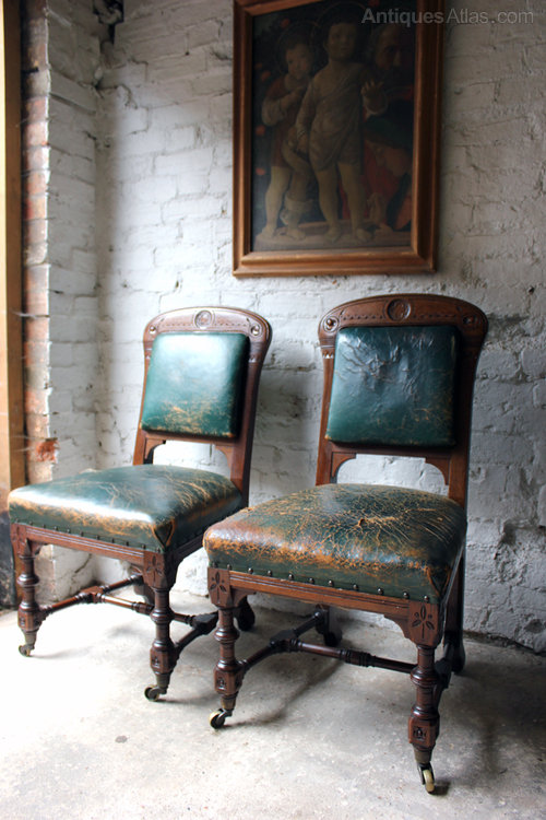 pair of oak gothic side chairs by holland sons antiques atlas