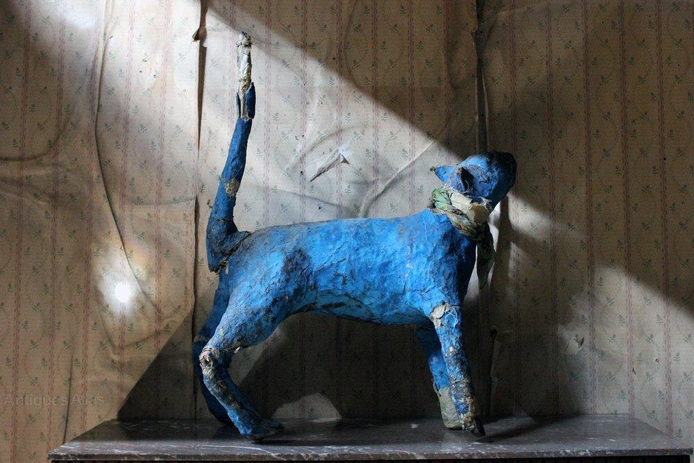 Papier-mâché Blue Painted Model Of A Cat C 1992