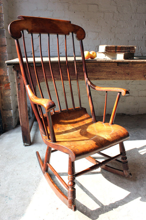 Pleasing Superb Mid 19Thc Elm Boston Rocking Chair Antiques Atlas Evergreenethics Interior Chair Design Evergreenethicsorg