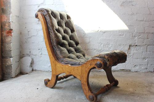 Awe Inspiring Victorian Oak X Framed Button Back Leather Chair Antiques Spiritservingveterans Wood Chair Design Ideas Spiritservingveteransorg