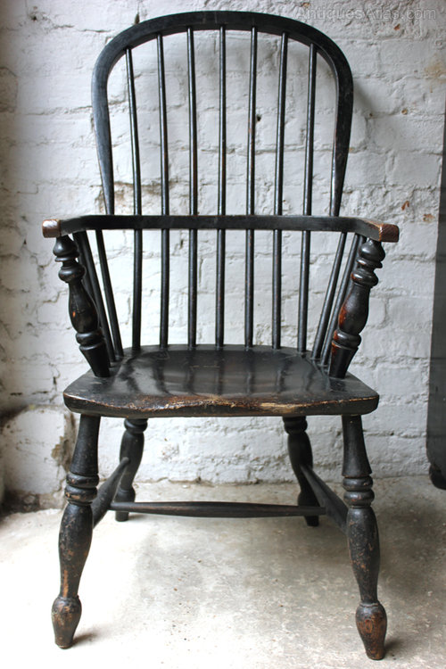 C.1820 Black Painted Stick-Back Windsor Armchair - Antiques ...