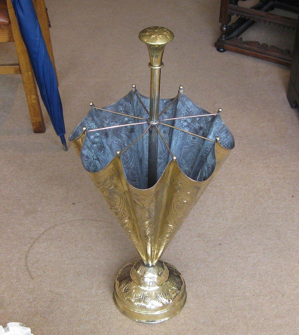 Brass Umbrella Stand Embossed: Victorian Brass 'Umbrella' Stick Stand