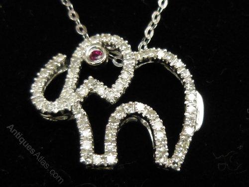 Antiques atlas 9ct white gold diamond and ruby elephant pendant aloadofball Choice Image
