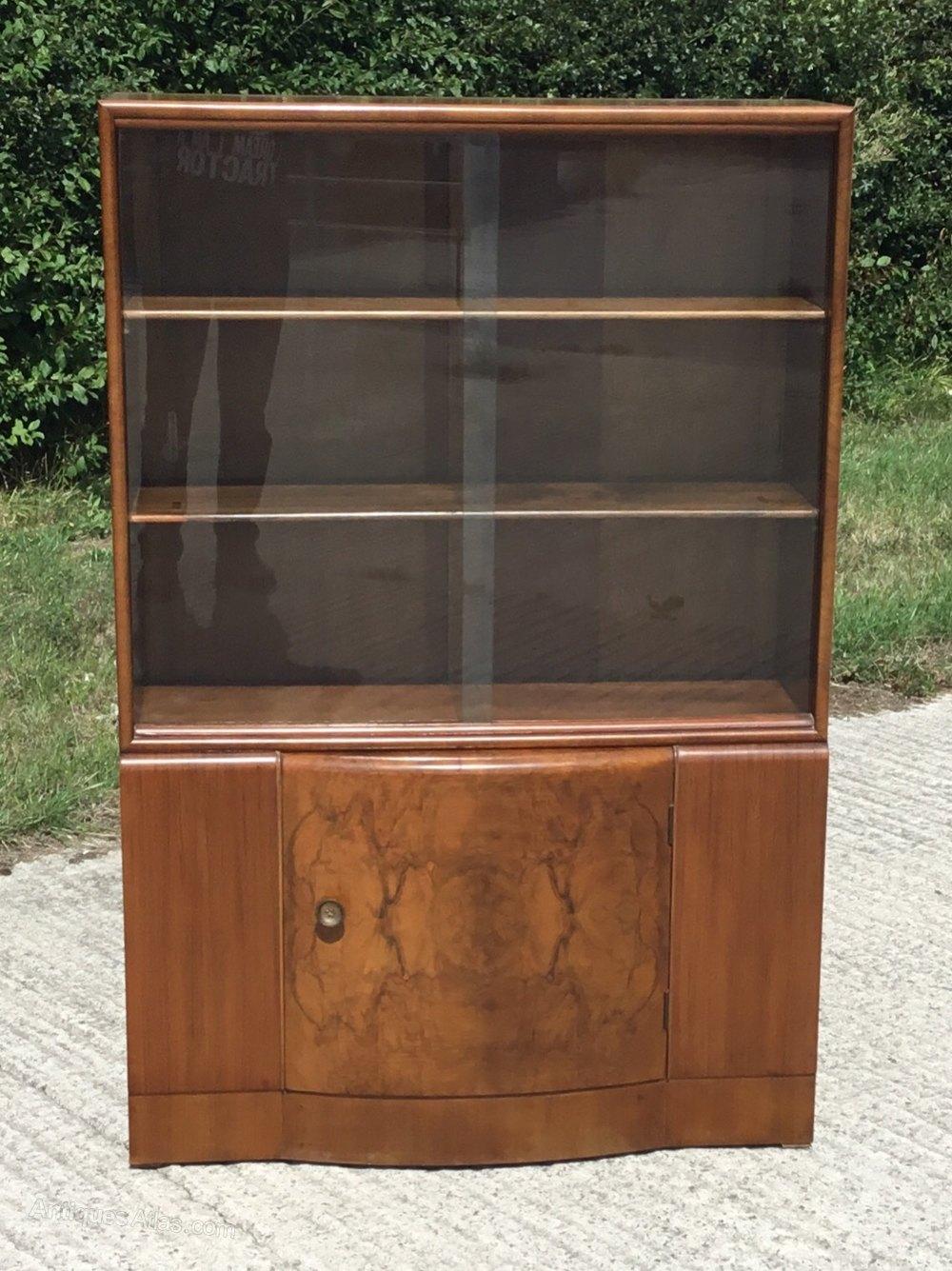 Burr Walnut Walnut Glazed Bookcase