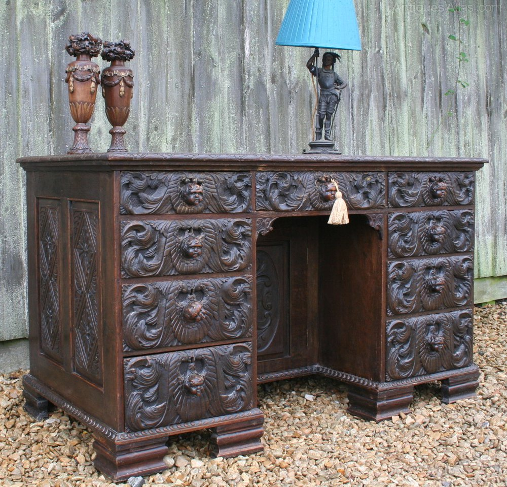 Gothic Revival Green Man Style Carved Desk Antiques Atlas