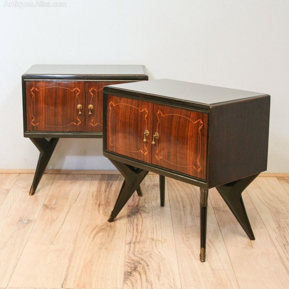 Antiques atlas pair mid century italian bedside cabinets for Italian cabinets