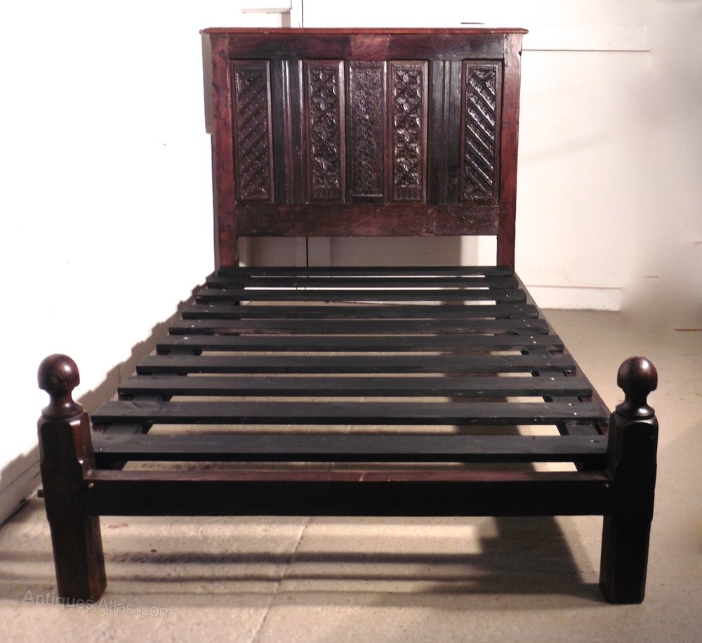 Trend th Century Gothic Carved Oak Single Bed Antique Single Beds