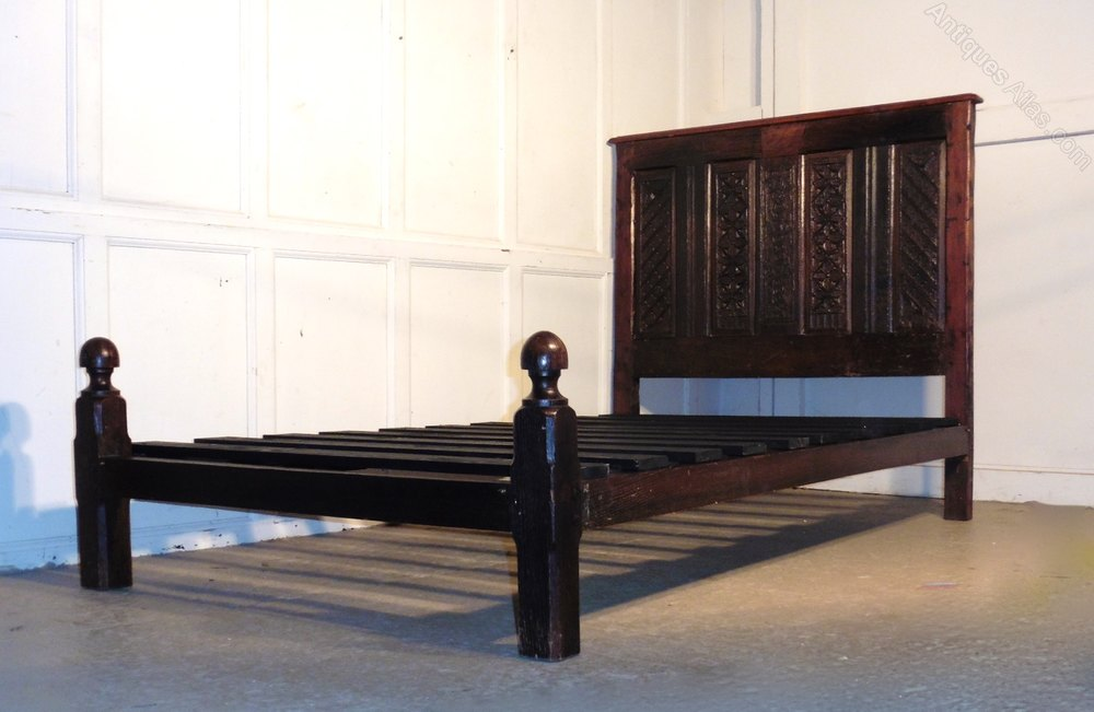 Ideal th Century Gothic Carved Oak Single Bed